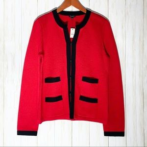 Talbots Black and Red Cardigan Blazer Jacket